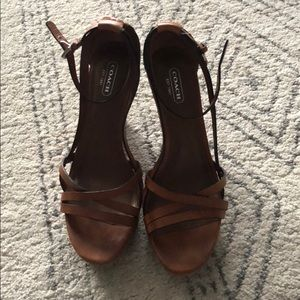 Brown leather Coach strappy wedges